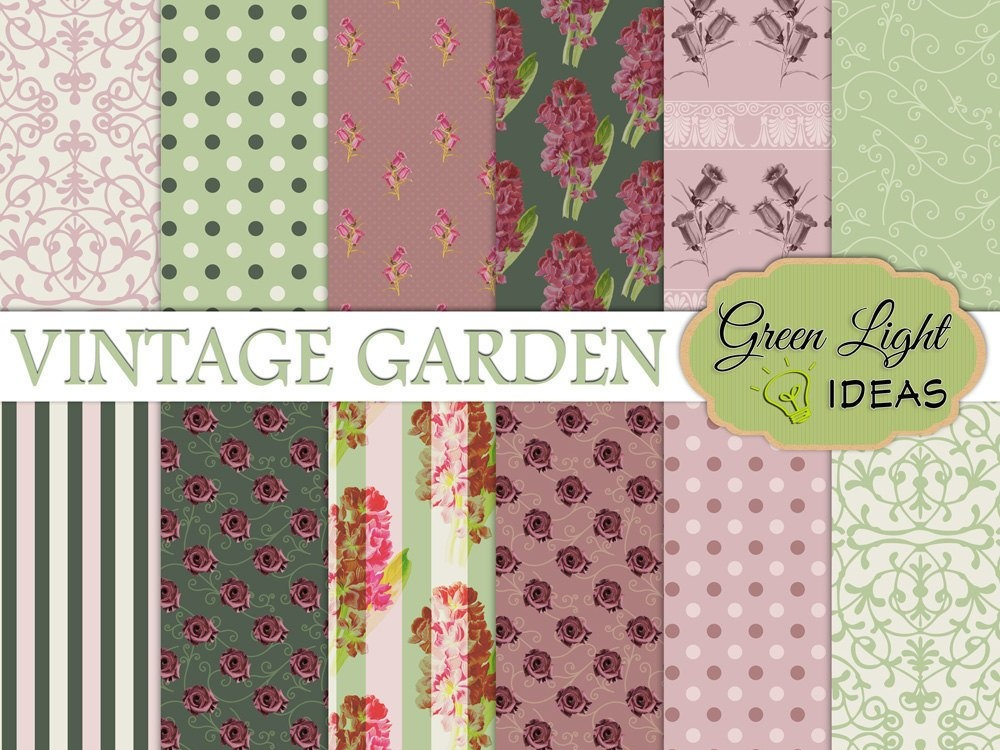 Download Free Vintage Floral Digital Papers Graphic By Greenlightideas for Cricut Explore, Silhouette and other cutting machines.