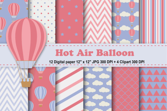 Vintage Hot Air Balloons Digital Paper Graphic By Cosmosfineart