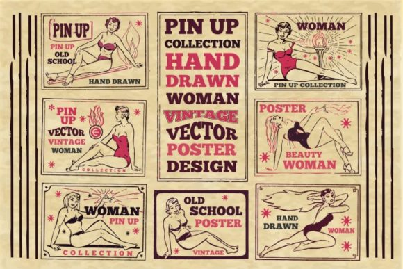 Print on Demand: Vintage Pin Up Poster Graphic Illustrations By bywahtung - Image 1