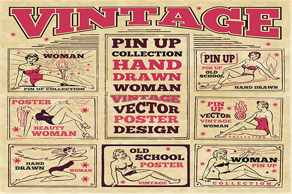 Print on Demand: Vintage Pin Up Poster Graphic Illustrations By bywahtung