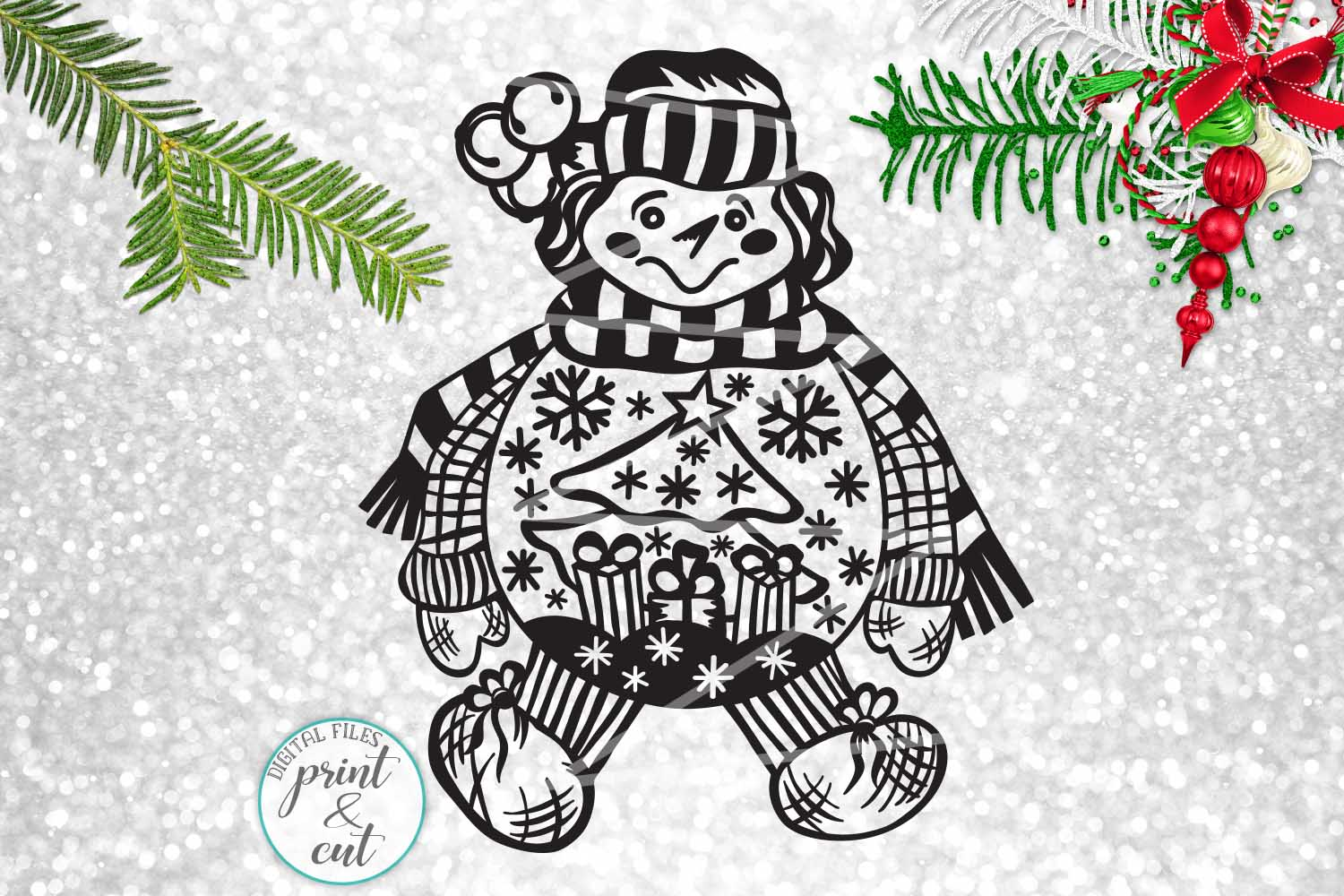 Download Free Vintage Snowman Graphic By Cornelia Creative Fabrica for Cricut Explore, Silhouette and other cutting machines.