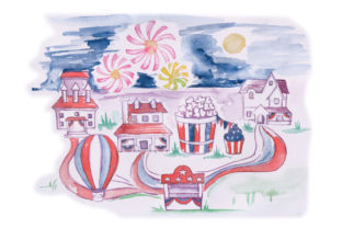 Watercolor 4th of July Village Craft Design By Creative Fabrica Crafts