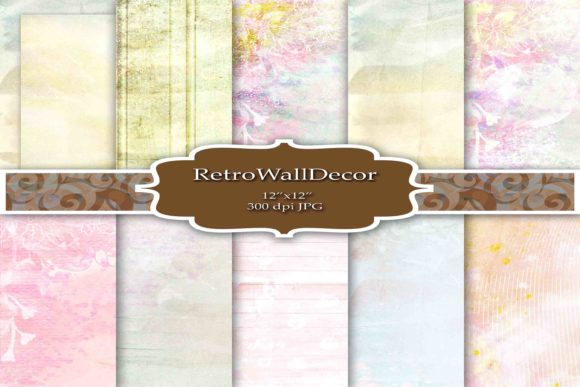 Print on Demand: Watercolor Art Digital Paper Pack Graphic Backgrounds By retrowalldecor