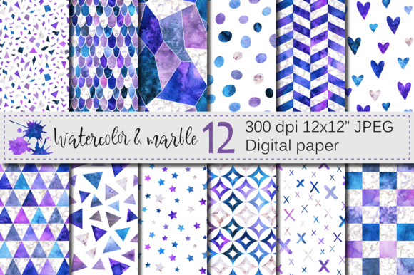 Watercolor Seamless Digital Papers Graphic Patterns By VR Digital Design
