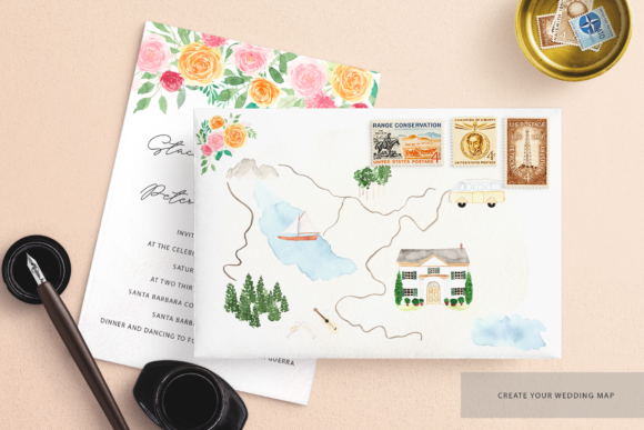 Watercolor Wedding map creator kit Graphic by BilberryCreate ... on