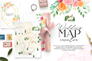 Watercolor Wedding Map Creator Kit Graphic By BilberryCreate