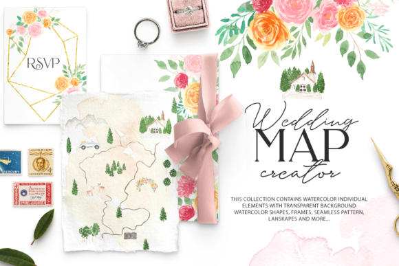 Watercolor Wedding Map Creator Kit Graphic Illustrations By BilberryCreate