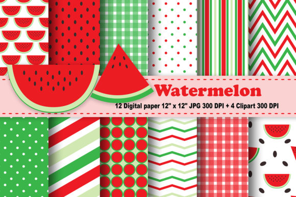 Print on Demand: Watermelon Digital Paper Graphic Patterns By CosmosFineArt