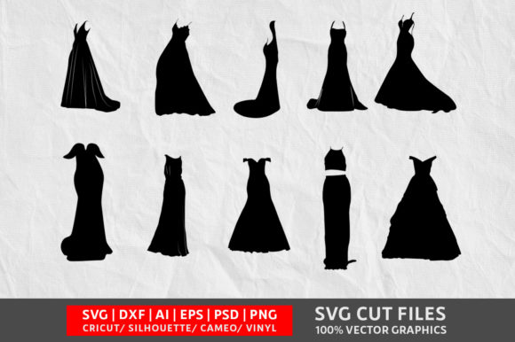 Download Free Wedding Dress Graphic By Design Palace Creative Fabrica for Cricut Explore, Silhouette and other cutting machines.