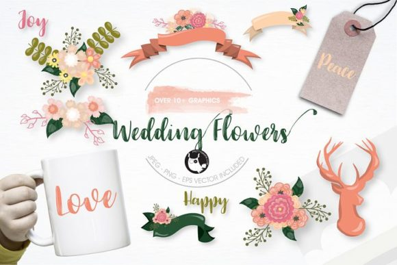 Print on Demand: Wedding Flowers Clipart Set Graphic Illustrations By Prettygrafik