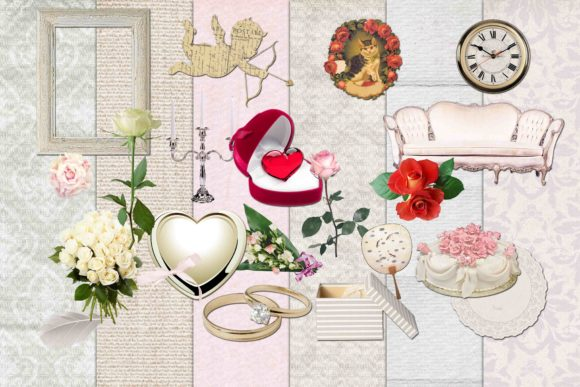 Print on Demand: Wedding Clipart Graphic Illustrations By retrowalldecor - Image 1