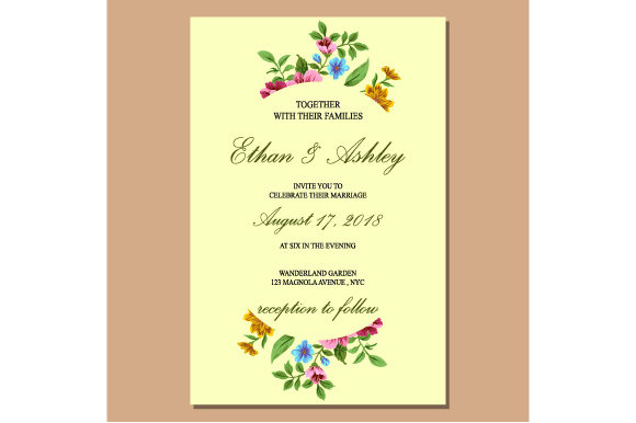 Print on Demand: Wedding Invitation with Floral Graphic Print Templates By iop_micro