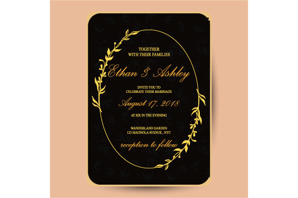 Print on Demand: Wedding Invitation with Floral Frame Graphic Print Templates By iop_micro