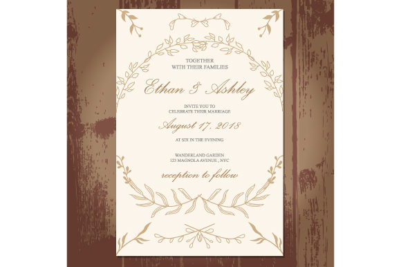 Print on Demand: Wedding Invitation with Floral Pattern Frame Graphic Print Templates By iop_micro