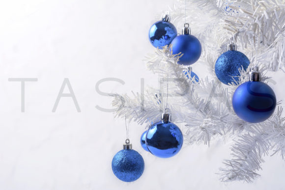 White Christmas Tree With Blue Ornament Copy Space Graphic By