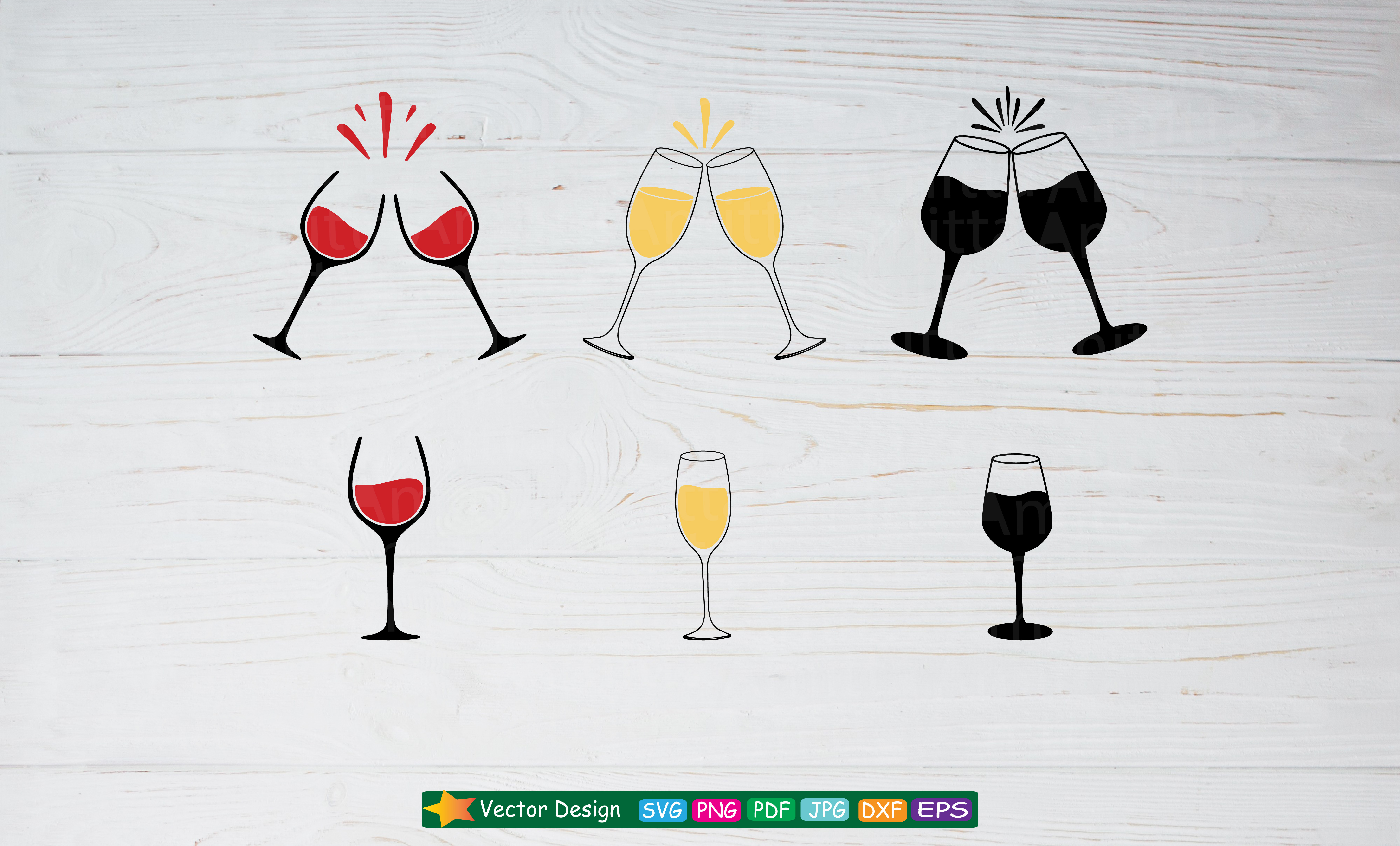 Download Free Wine Glasses Cut Files Graphic By Amitta Creative Fabrica for Cricut Explore, Silhouette and other cutting machines.