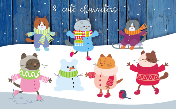 Winter Holidays Funny Cats Vector Set Graphic By Olga Belova Image 2