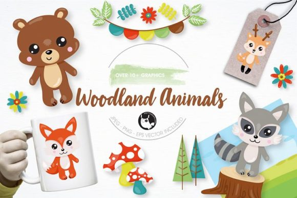 Download Free Woodland Animals Clipart Set Graphic By Prettygrafik Creative for Cricut Explore, Silhouette and other cutting machines.