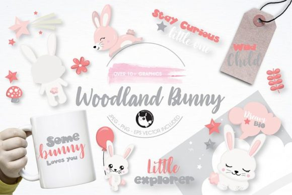 Download Free Woodland Bunny Clipart Set Graphic By Prettygrafik Creative for Cricut Explore, Silhouette and other cutting machines.