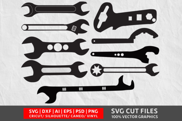 Wrench SVG Graphic Crafts By Design Palace - Image 1