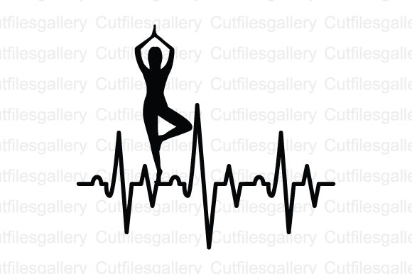 Download Free Yoga Heartbeat Graphic By Cutfilesgallery Creative Fabrica for Cricut Explore, Silhouette and other cutting machines.
