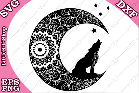 Download Free Zentagle Wolf And Moon Svg Graphic By Littlekikishop Creative SVG Cut Files