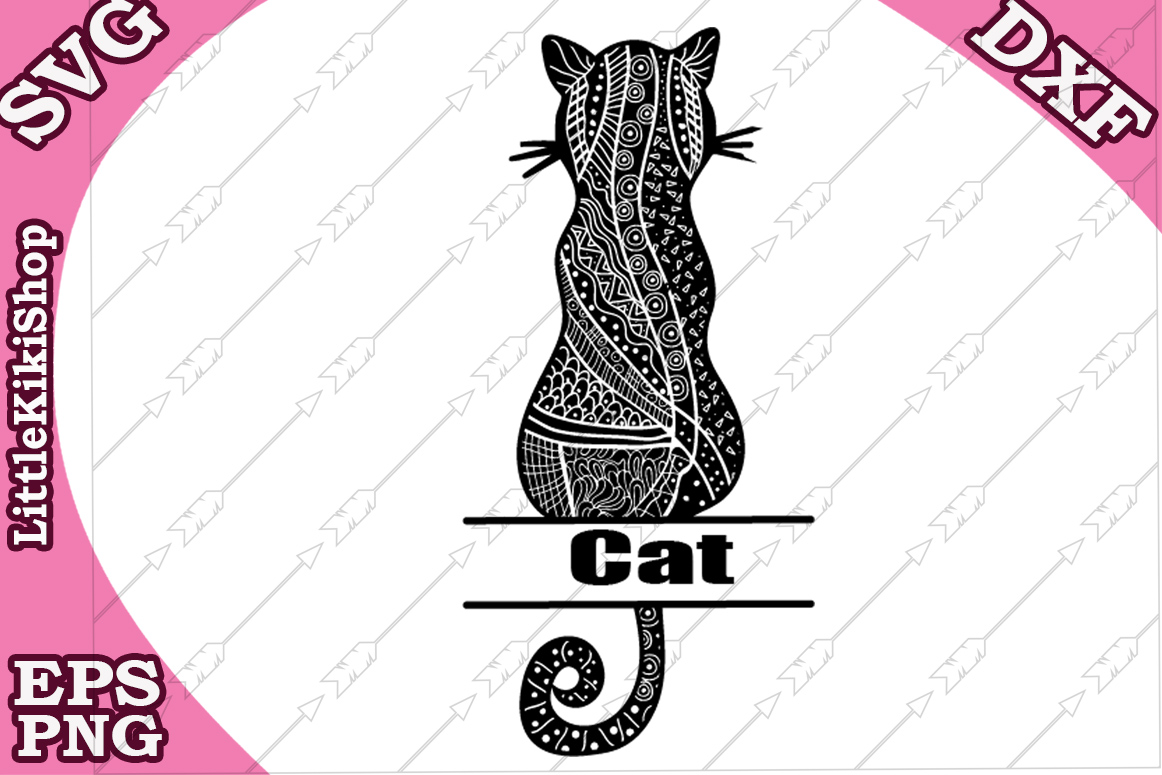 Download Free Zentangle Cat Monogram Svg Graphic By Littlekikishop Creative for Cricut Explore, Silhouette and other cutting machines.