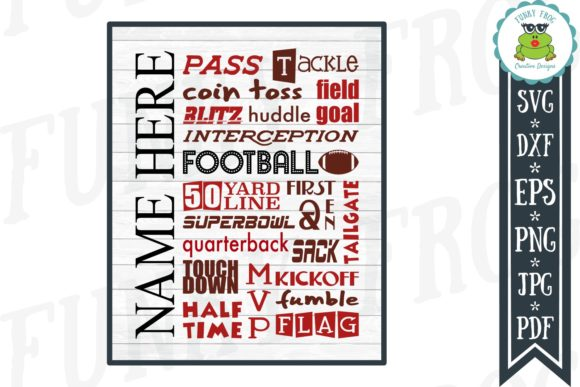 Football Subway Art Graphic Crafts By funkyfrogcreativedesigns