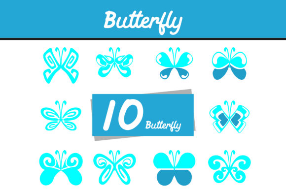 Print on Demand: 10 Blue Butterfly Vector Bundle Graphic Icons By Arief Sapta Adjie