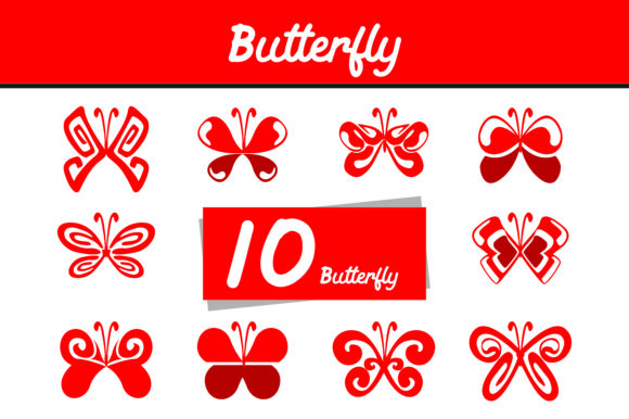 Print on Demand: 10 Red Butterfly Vector Bundle Graphic Icons By Arief Sapta Adjie