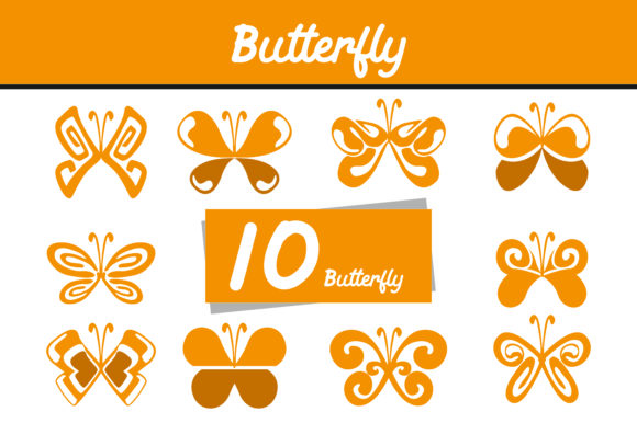 Print on Demand: 10 Yellow Butterfly Vector Bundle Graphic Icons By Arief Sapta Adjie