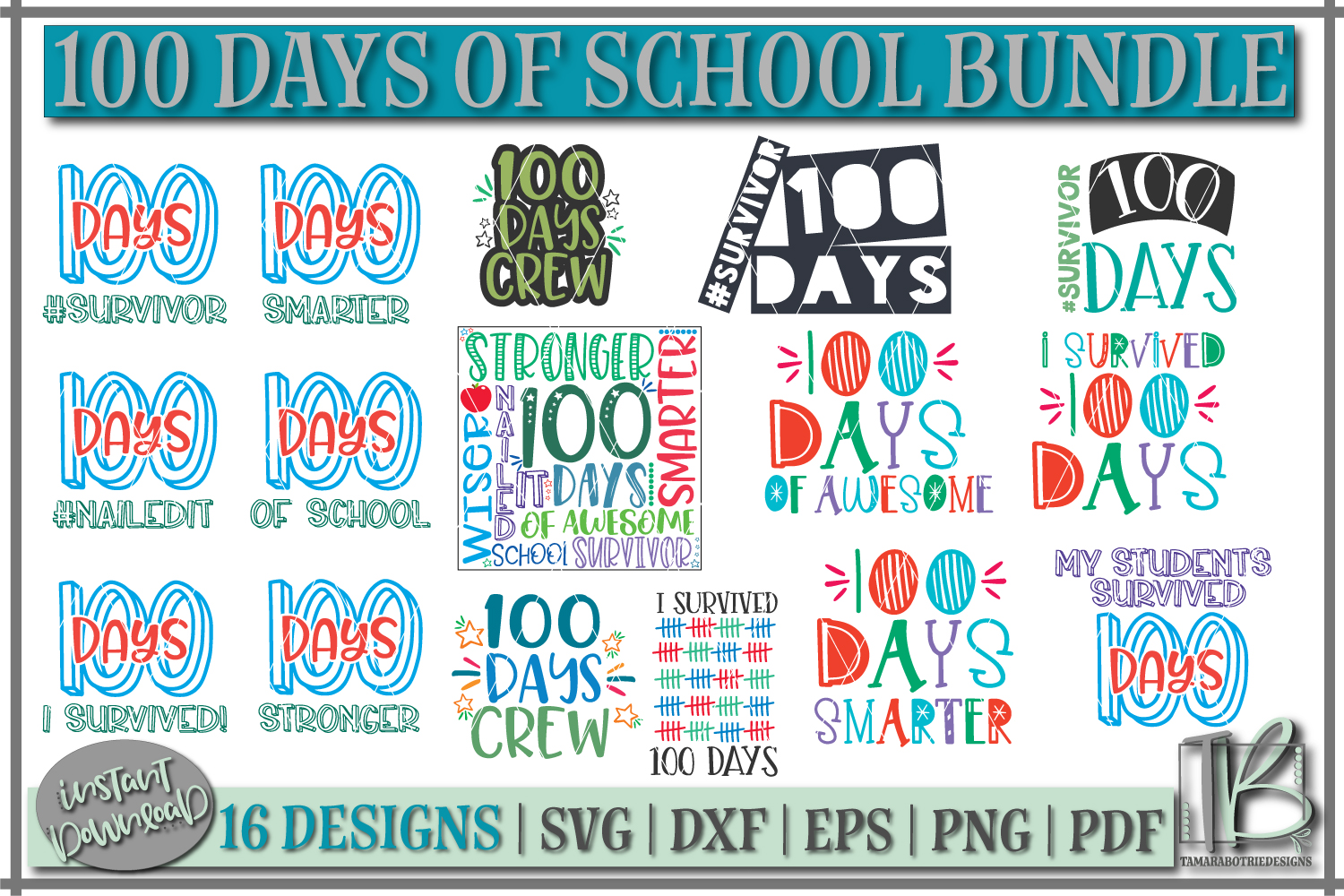 Download Free 100 Days Of School Bundle Graphic By Tamarabotriedesigns for Cricut Explore, Silhouette and other cutting machines.