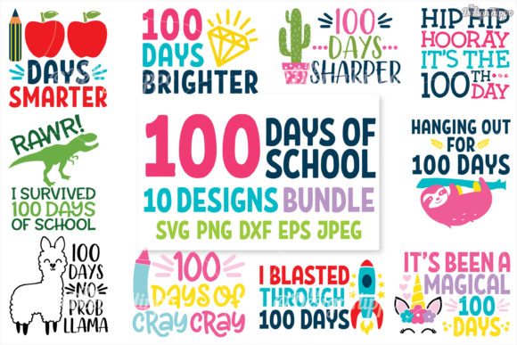 100 Days of School SVG Bundle Graphic Crafts By thedesignhippo