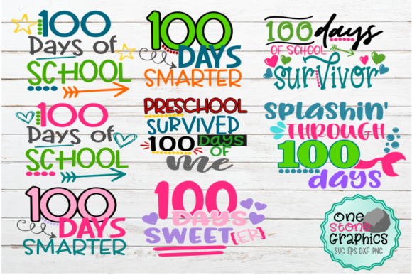 100 Days of School Bundle Svg Graphic Crafts By OneStoneGraphics