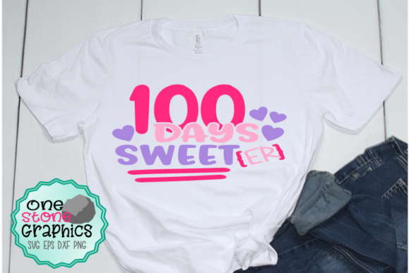 Download Free 100 Days Sweeter Svg Graphic By Onestonegraphics Creative Fabrica for Cricut Explore, Silhouette and other cutting machines.