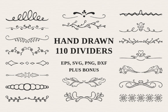 Download Free 110 Hand Drawn Dividers Graphic By Kirill S Workshop Creative for Cricut Explore, Silhouette and other cutting machines.