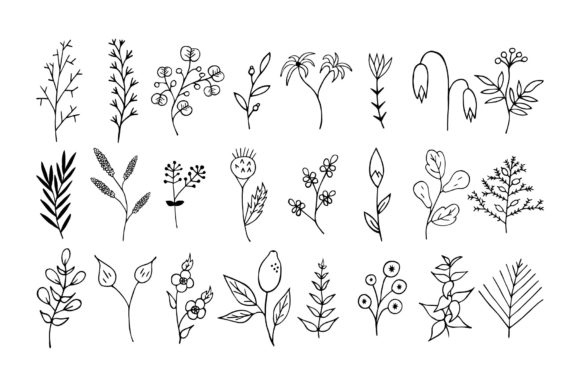 Download Free 110 Hand Drawn Floral Design Elements Graphic By Kirill S for Cricut Explore, Silhouette and other cutting machines.