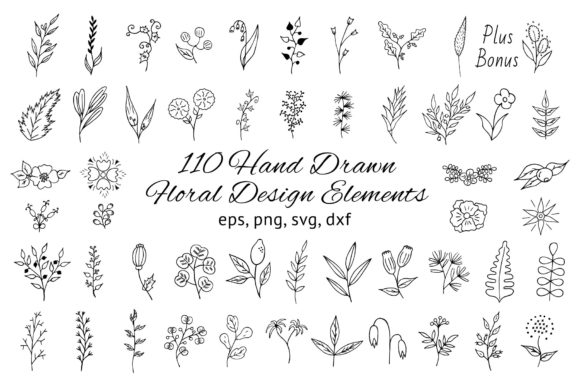 110 Hand Drawn Floral Design Elements Gráfico Ilustraciones Por Kirill's Workshop