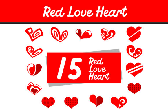 Print on Demand: 15 Red Love Heart Vector Bundle Graphic Icons By Arief Sapta Adjie