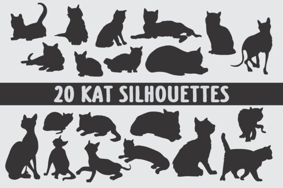 Print on Demand: 20 Different Black and White Cat Silhouettes Graphic Illustrations By bywahtung