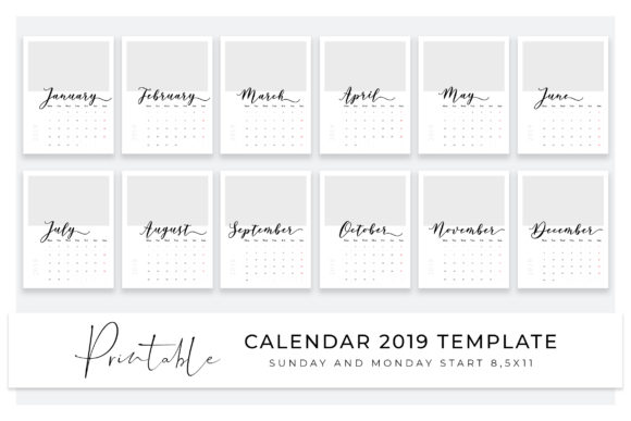 2019 Calendar Template For Photoshop Add Photos And Print Graphic