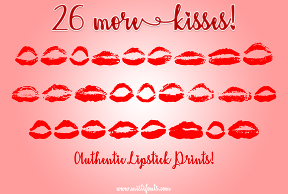 Print on Demand: 26 More Kisses Dingbats Font By Misti
