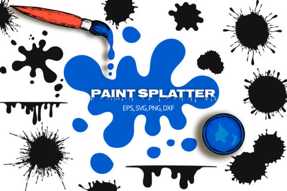 40 Hand Drawn Paint Splatters Gráfico Ilustraciones Por Kirill's Workshop