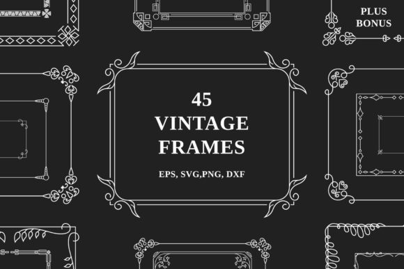 40 Vintage Ornate Corners and Borders Graphic Illustrations By Kirill's Workshop