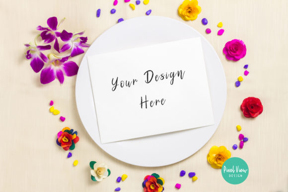 Download Free 5 X 7 Card Mockup On A Plate Graphic By Pixel View Design for Cricut Explore, Silhouette and other cutting machines.