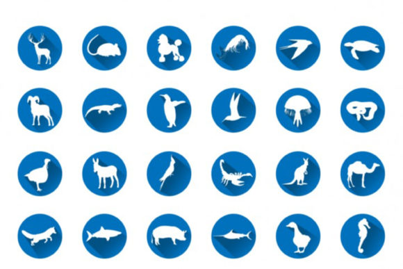 Print on Demand: 56 Flat Animal Silhouettes Icon Set Graphic Icons By bywahtung