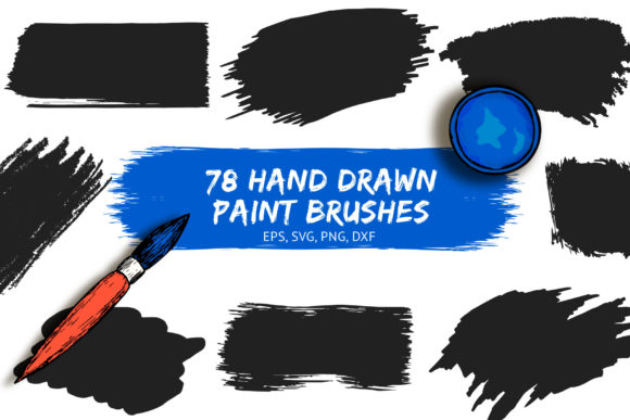 78 Hand Drawn Paint Brushes Graphic Illustrations By Kirill's Workshop