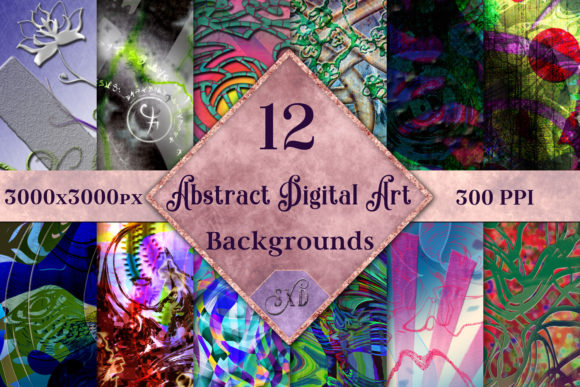 Print on Demand: Abstract Digital Art Backgrounds Graphic Backgrounds By SapphireXDesigns