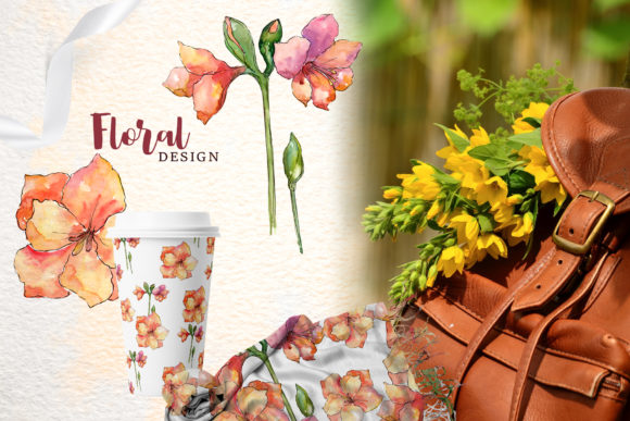 Print on Demand: Amaryllis Flowers Watercolor Png Graphic Illustrations By MyStocks - Image 3