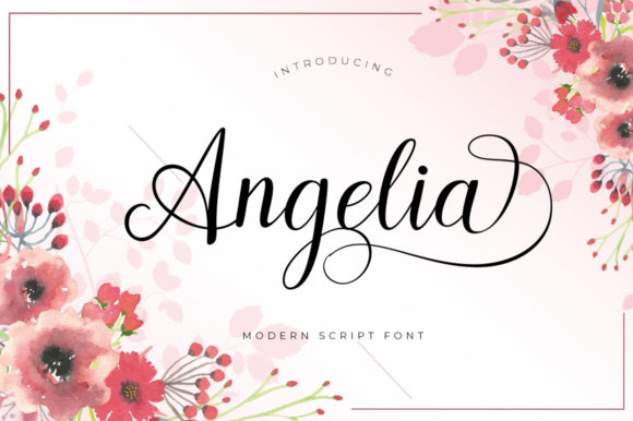 Print on Demand: Angelia Script Script & Handwritten Font By Posts Type